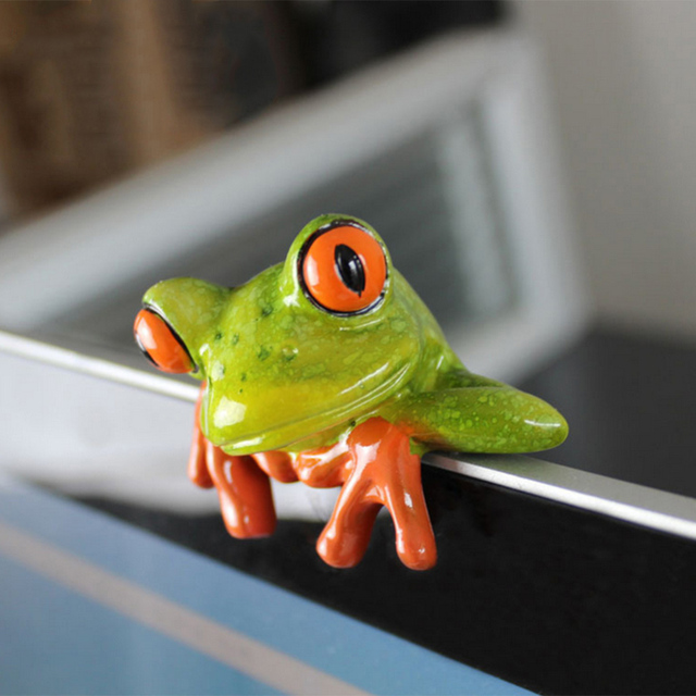 Creative 3D Craft Frog Figurine Decoration Ornament Statue Home Garden Decor Desk Table Shelf Figurines Kids Toys Gift 2