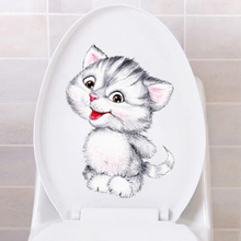 Simulation Cat Toilet Stickers Removable Wall Stickers Waterproof Self-Adhesive Bathroom Stickers Cute Cartoon Kitten Stickers space navigation pattern removable cartoon wall stickers