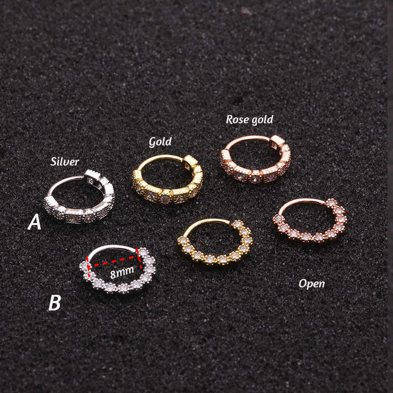 1PC 8mm Rose Gold Tone Hoop Earring Tragus Rook Snug Ear Piercing Jewelry CZ Helix Cartilage Piercing