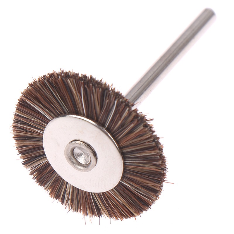Hot! 5Pcs 3mm Shank Flat Horsetail Bristle Brush Buffing Carving Wax Polishing Tool Brush Wheel Best Price