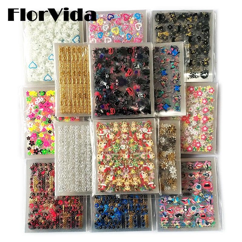 FlorVida 30 pièces ensemble Nail Art autocollants avec colle fleur décalcomanies 5*6cm auto-adhésif Laser doré noël Halloween Kit de manucure