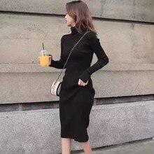Women Autumn Winter Dress Solid Color High Collar D