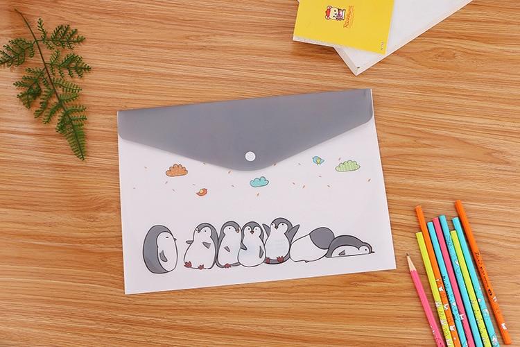 Cute Cartoon Cat Plastic Folders A4 Office File Organizer Document Hold Bags Folders Filing Paper Bag Office School Supplies