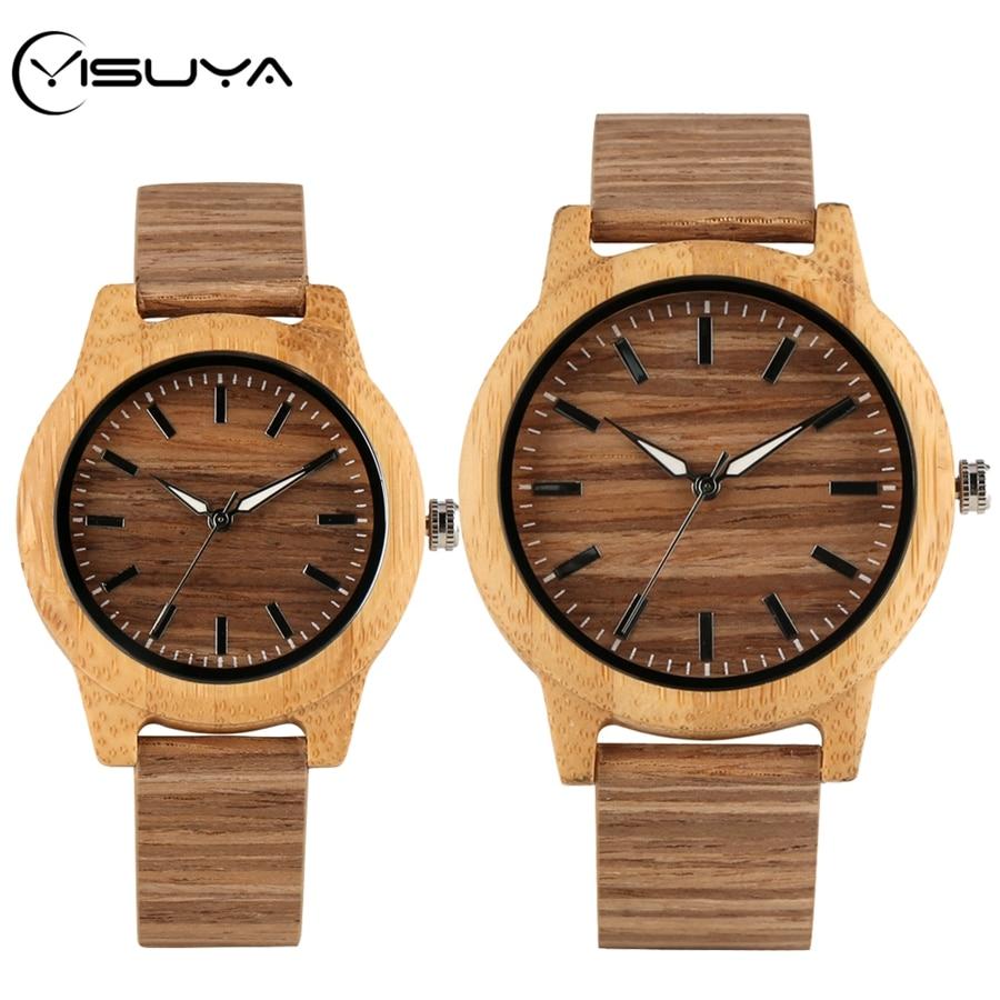 YISUYA Novelty Art Corkwood Leather Wood Watches Men's Watch Bamboo Wood Quartz Wristwatch Best Gifts For Men Women Retro Reloj