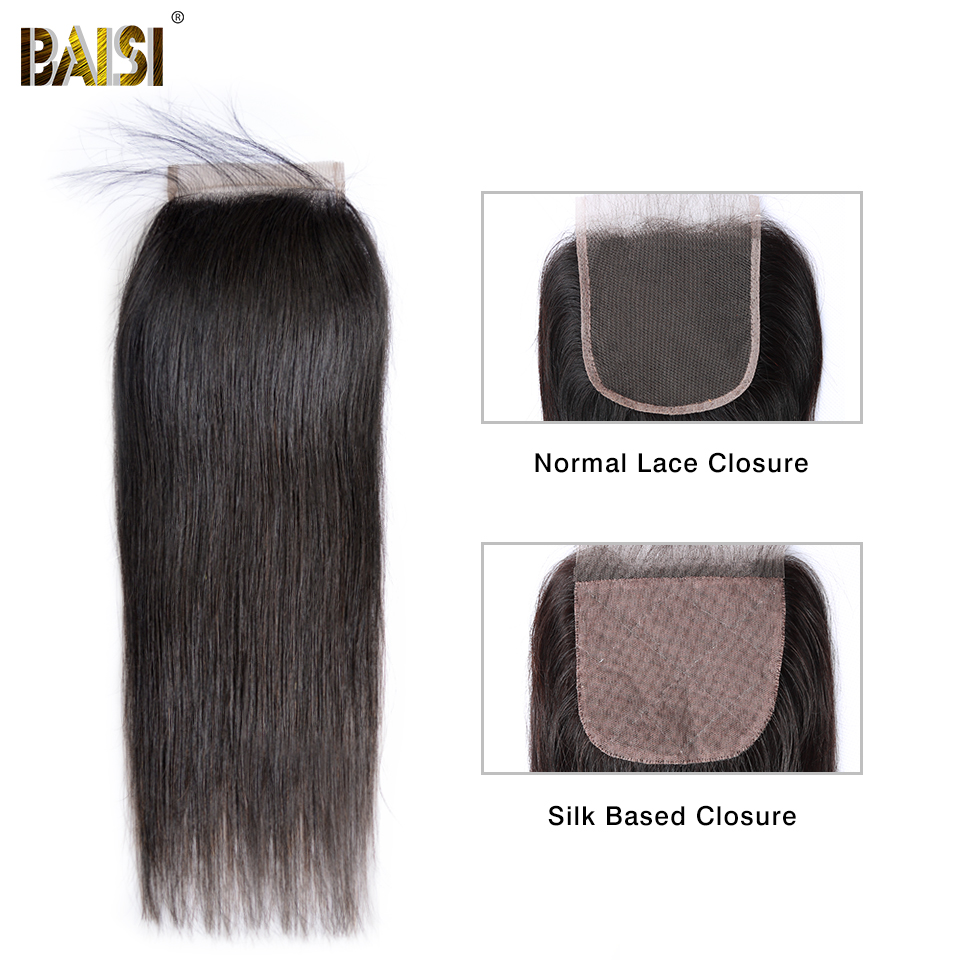 BAISI Hair Peruvian Straight Swiss Lace Closure 4x4 Middle Part Free Part Three Part 100% Human Hair-in Closures from Hair Extensions & Wigs