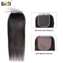 Волосы BAISI перуанские, прямые, швейцарские, кружевные, 4x4, средней части, свободные, три части, 100% натуральные волосы