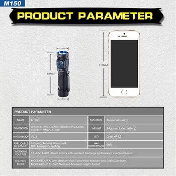 100% Оригинальный SKILHUNT M150 CREE XP-L2 светодиодный 750 люмен USB Магнитный зарядный светодиодный перезаряжаемый фонарик с 14500 батареями