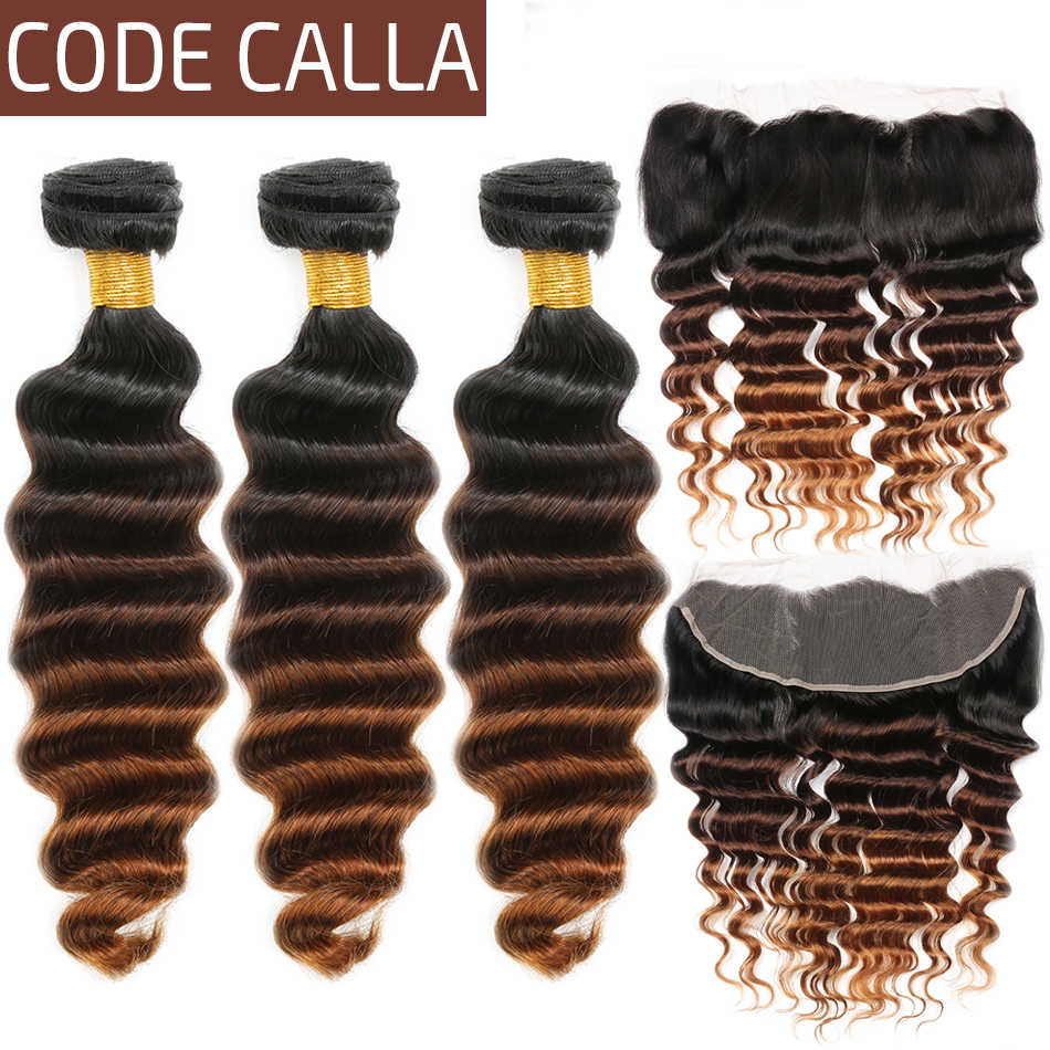 Code Calla Brazilian Remy Loose Deep Hair Bundles With Lace Frontal 13*4 Free Part 100% Human Hair Weft Extension Ombre Color