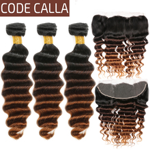 Code Calla Brazilian Remy Loose Deep Hair Bundles With Lace Frontal 13*4 Free Part 100% Human Hair Weft Extension Ombre Color стоимость