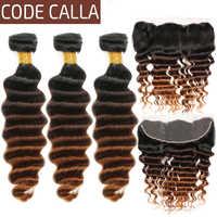 Extensiones de cabello humano Remy con cierre de encaje, mechones de pelo ondulado suelto brasileño con encaje Frontal, código de calles 100%, 13x4