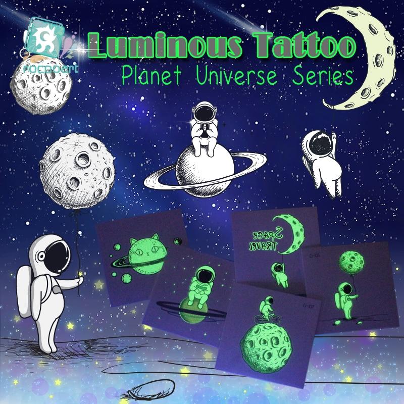 Rocooart Small Tattoo Luminous Tattoo Stickers Cartoon Space Planet Fake Tatoo For Kids Glowing Waterproof Temporarie Tatouage(China)