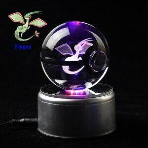 Dropship Incrível Ir Flygon Pokemon Estatueta de Cristal Bola Esfera com Suporte de Luz LED