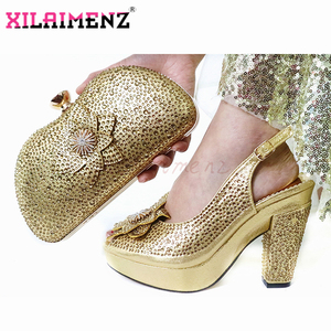 Image 3 - 2020 New Style African Women Matching Shoe and Bag Material with Pu Italian Lady Shoes and Bags Set for Party in Wine Color