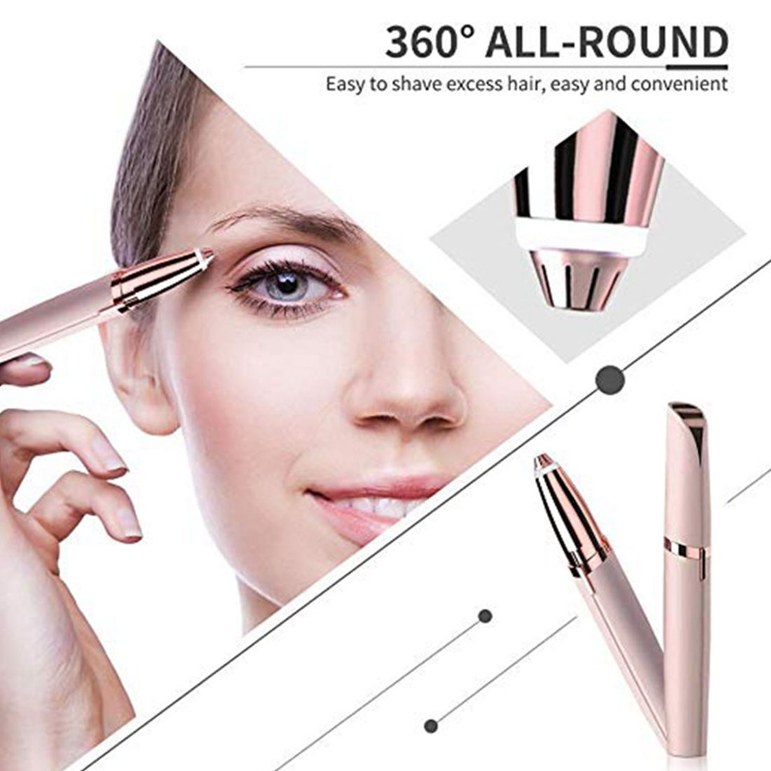 1 Pcs Electric Eyebrow Trimmer Eyebrows Automatic Eyebrow Shaving Instrument Hair Removal Beauty Trimmer Makeup Tools