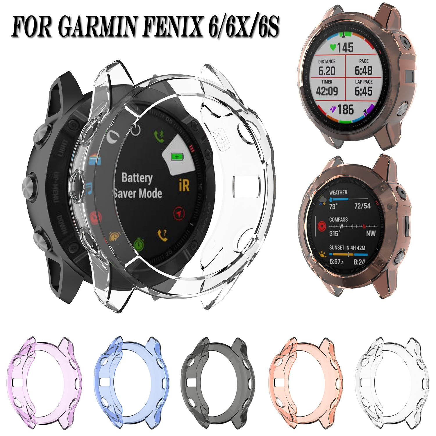 Fashion Silicone Shockproof Protective Case Cover For Garmin Fenix 6 6x 6s Transparent Soft TPU Protector Shell Frame Skin