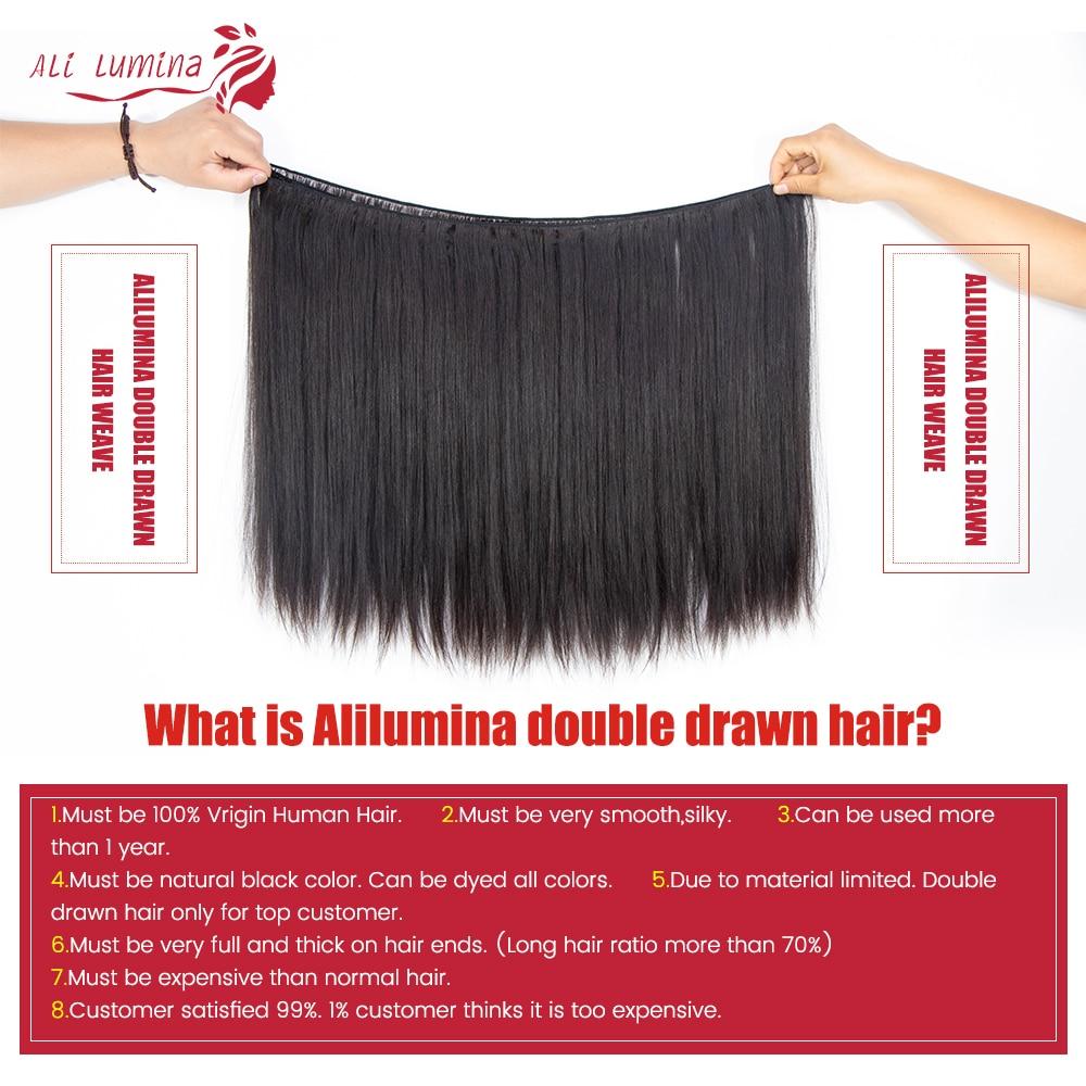 Double Drawn Straight Hair Bundles With Closure Ali Lumina 4