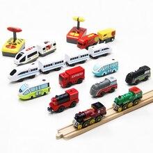 Электрический радиоуправляемый поезд, набор, игрушки на дистанционном управлении, соединенные с деревянной железной дорогой, дорожка, день рождения, рождественский подарок для детей