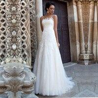 2020 A Line Bridal Dresses Beach Sheer Neck Lace Appliques Long Train Bridal Gown Open Back Button Wedding Dress Robe de Mairee