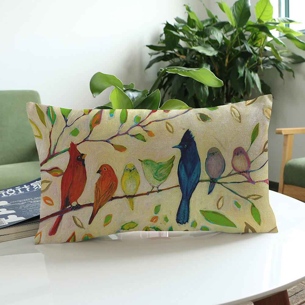 Flower and bird pattern waist pillowcase <font><b>30*50</b></font> Flower Printing Sofa Bed Home Decoration Festival <font><b>Pillow</b></font> <font><b>Case</b></font> Cushion Cover 7#P7 image