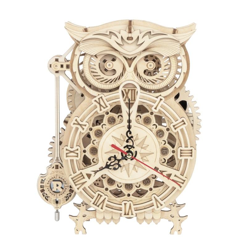 Robotime ROKR 3D Wooden Puzzle Owl Clock Model Building Kit Toys for Children Kids Boys LK503 1