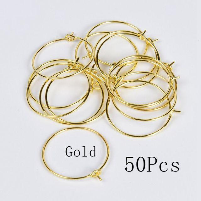 100-500PCS Jewelry Findings plaqué or Hoop Cercle Crochet Boucle d/'oreille À faire soi-même Fait Perles