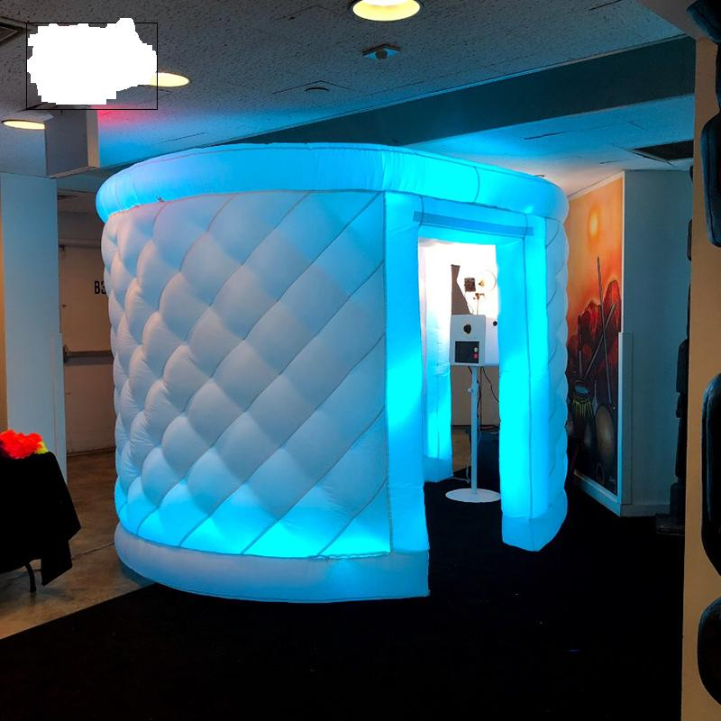 customize 3m wide by 2.4m tall white inflatable oval photo booth for Ania