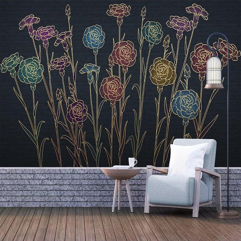 Custom 3D Mural Wallpaper Modern Floral Relief Self-adhesive Waterproof Wallpaper Murals Wall Decals Living Room Sofa Restaurant