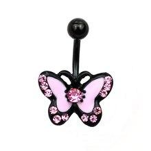 Кольца для пупка с черной розовой бабочкой, антиаллергенные кольца для пупка из нержавеющей стали, пирсинг для пирсинга, женское Ювелирное ...