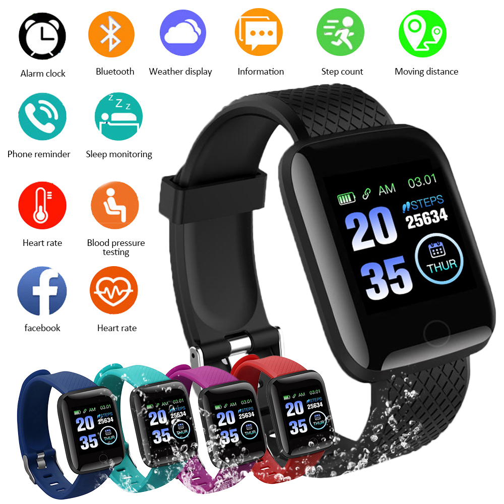 116 PLUS Sports Pedometer Smart Bracelet Blood Pressure Heart Rate Call Message Reminder Waterproof Pedometer Fitness Watch