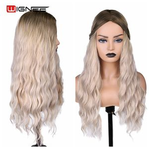Image 4 - Wignee Ombre Long Wavy Heat Resistant Synthetic Wig For Women Black to Blond American Cosplay/Party Middle Part Natural Hair Wig