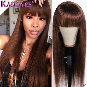 Peluca de cabello humano con flequillo y encaje liso en color marrón miel, peluca de cabello humano de Malasia, peluca de pelo largo Remy de 13x6, peluca con malla frontal