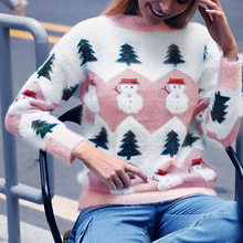 Women Printing Christmas Snowman Sweater Round Neck Lady Knitting Womens Easy Hot Sale New