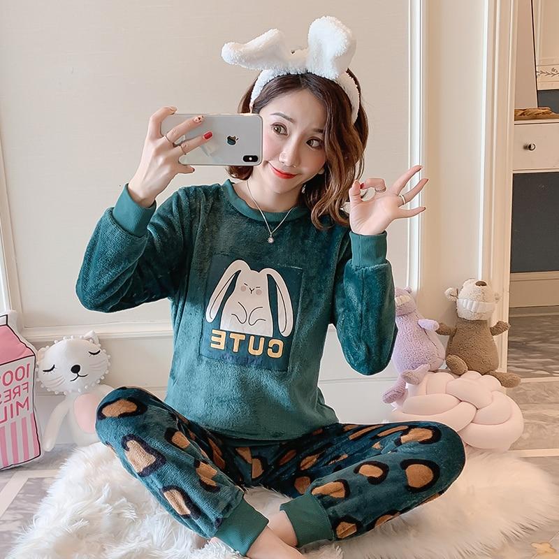 New Women Gift Adult Flannel Pajamas Sets Winter CartoonThick Warm Flannel Women Pyjama Sets Cute Sleepwear for Ladies Nightwear 77