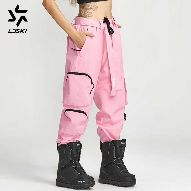 LDSKI kar pantolon Unisex Snowboard pantolon kovucu kabuk kargo tarzı kentsel sokak stili fermuarlar manşetleri