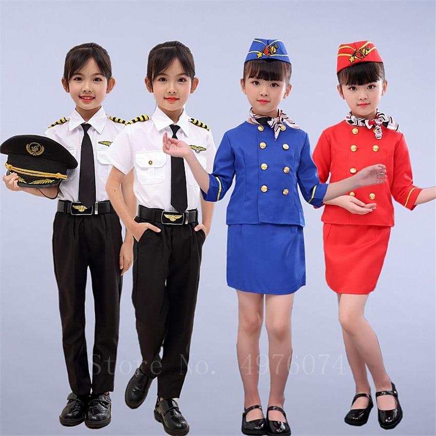 Children Flight Attendant Boys Pilot Cosplay Costume Halloween Fancy Party Gift Stewardess Air Force Masquerade Clothing Set