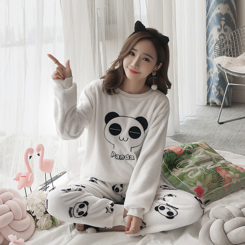 Women   pajamas     set   Women Pyjamas Thick Flannel Cute Panda Sheep Female Warm Winter   Pajama     Set   Long Sleeve Full Trouser Two Piece