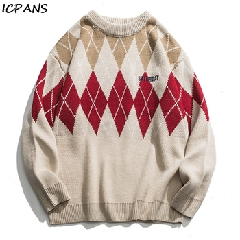 ICPANS Oversize Plaid Kintwear Pullover Men Women Couple Cotton Loose Hip Hop Streetwear Sweaters 2019 Fashion New