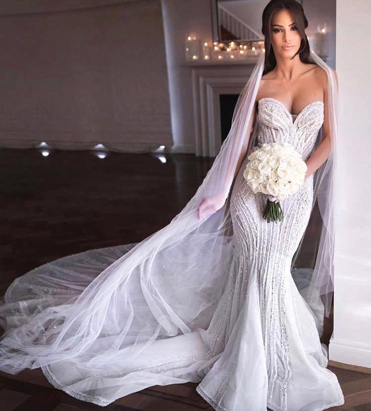 Robe De Mariee Sexy Mermaid Crystal Beaded Wedding Dresses 2020 Strapless White Bride Dress Bridal Wedding Gowns