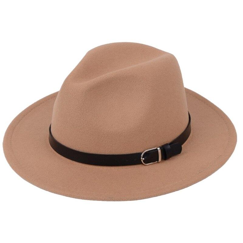Classic British Fedora Hat Men Women Imitation Woolen Winter Felt Hats Fashion Jazz Hat Chapeau Wholesale 22
