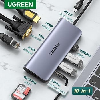 UGREEN USB HUB C HUB HDMI Adapter 10 in 1 USB C to USB 3.0 Dock for MacBook Pro Accessories USB-C Type C 3.1 Splitter USB C HUB