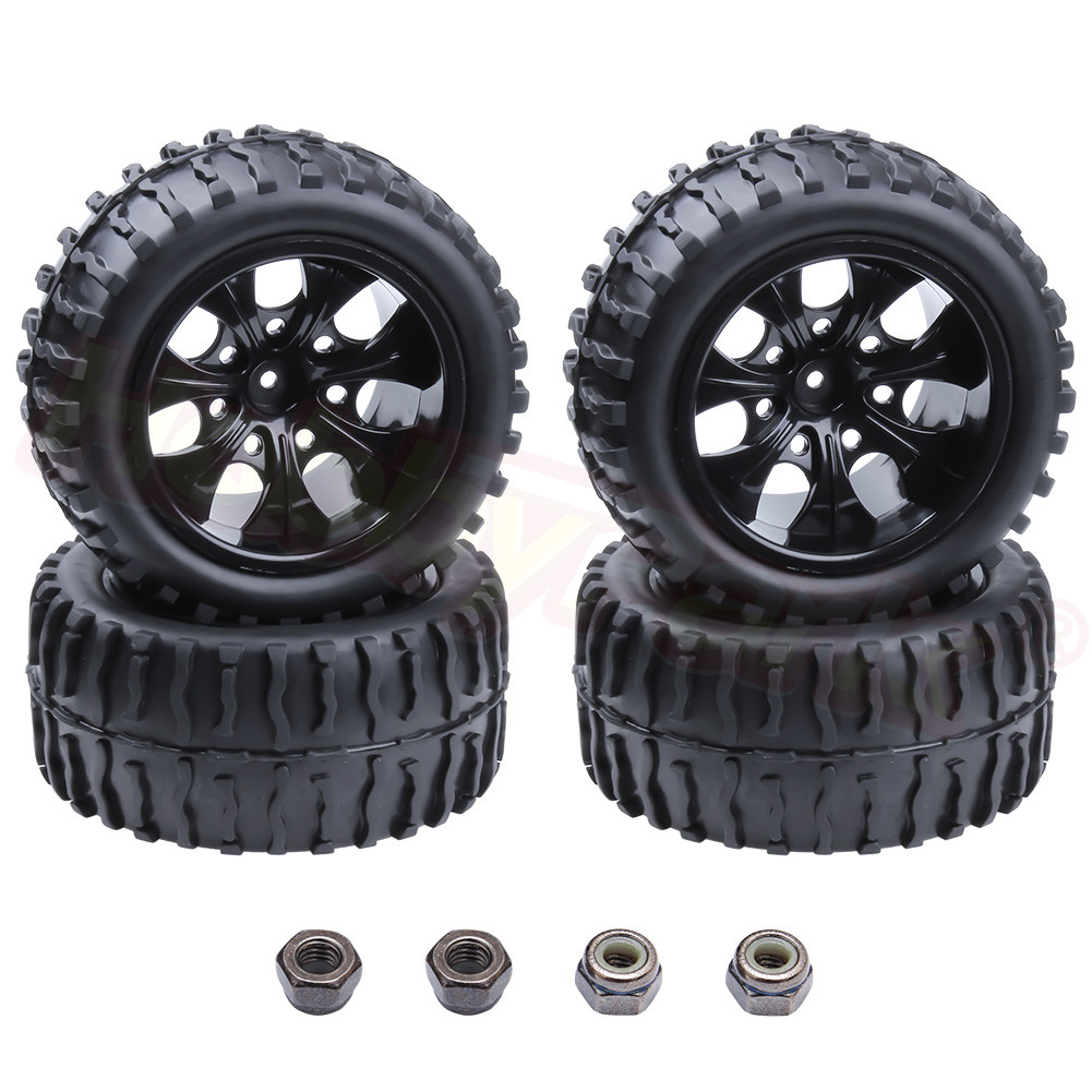 4pcs RC Tire & Wheel Rim Hex 12MM For RC Himoto 1/10 Off Road Monster Truck Fit HSP Amax Redcat Exceed HPI Racing