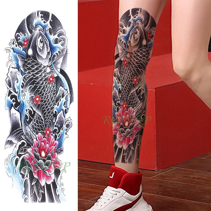 Waterproof Temporary Tattoo Sticker Carp Fish Japanese Style Water Flower Full Arm Fake Tatto Flash Sleeve Tatoo For Men Women