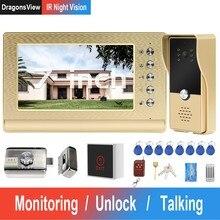 Dragonsview telefone video da porta com fio de vídeo porteiro com bloqueio casa sistema controle acesso bloqueio elétrico ir visão noturna chamada painel