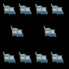 10PCS Argentina Country Stick Hat Brooch Pin Waving Lapel Hat Tie Pin Tack Friendship Lapel Pin