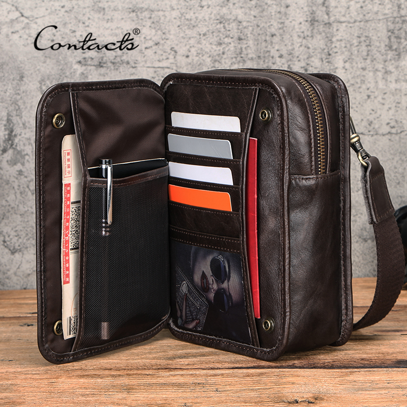 CONTACT'S Genuine Leather Shoulder Bag Men Crossbody Bags Large Capacity Male Small Phone Pouch Belt Bag Brand Travel Waist Pack