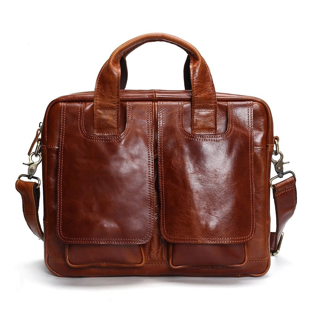 Men's Briefcase Brown Real-Leather Tote Computer-Bag Business Luxury New Cow