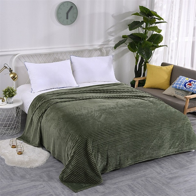 Claroom Super Soft Quilted Flannel Blankets For Beds Solid Striped Mink Throw Sofa Cover Bedspread Winter Warm Blankets WO63#