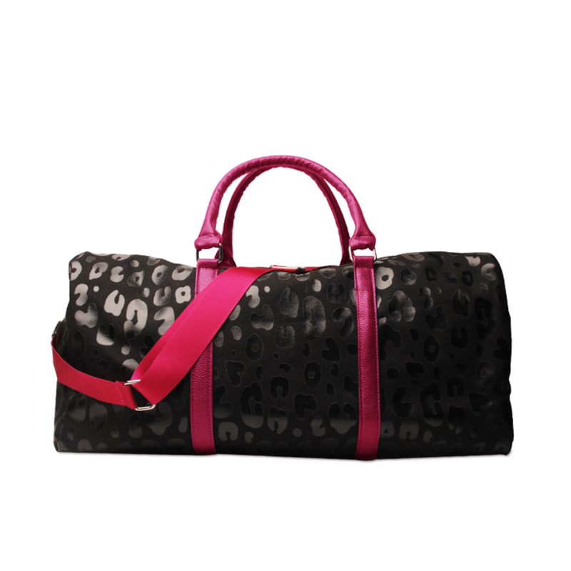 2021 New Arrival Black Bright Leopard PU Fashion Weekenders  Portable Large Capacity Tote Bags with Starps