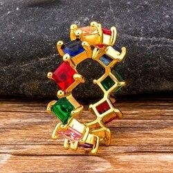 Moda AAA sześciennych cyrkon kwadratowych pierścionki dla kobiet dziewczyn czeski kolorowe Rainbow pierścień DIY oświadczenie Fine Party biżuteria ślubna