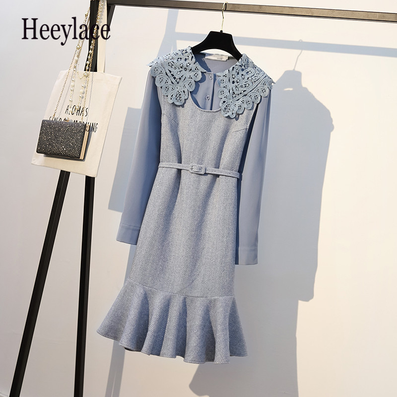 Plus Size Autumn Tweed Dress With Belt Women 2 Piece Dresses Set Korean Style Elegant Peter Pan Collar Blouse And Vest Dress Set